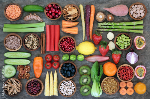Poster Assortiment Health food for healthy eating concept with foods high in omega 3, antioxidants, anthocyanins, minerals, vitamins and dietary fibre. Top view.