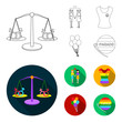 Lesbians, dress, balls, gay parade. Gay set collection icons in outline,flat style vector symbol stock illustration web.