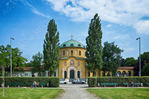 Recess Fitting Cemetery Munich, Germany - June 09, 2018: Chapel of famous West cemetery of Munich, Germany with historic gravestones