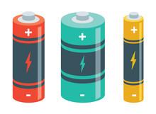 Vector Illustration Of Batteries