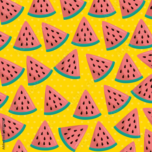 Cotton fabric fresh watermelons sliceds pattern vector illustration design