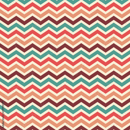 Foto-Vinylboden - retro chevron striped background wallpaper vector in vintage color palette of blue red peach beige and wine, elegant herringbone or zig zag pattern (von Arlenta Apostrophe)