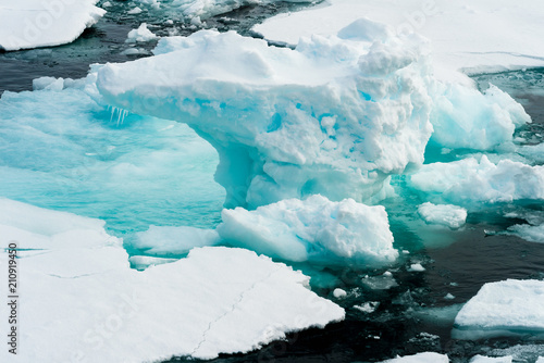 Foto op Aluminium Poolcirkel Beautiful landscpe of the Ice pieces on the water in Arctic
