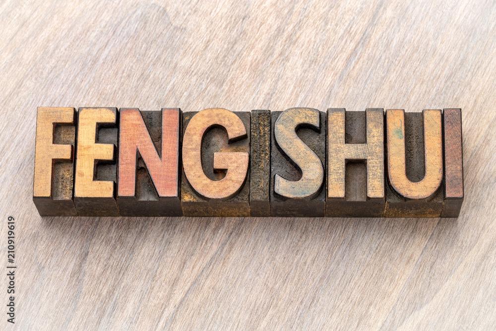 feng shui word abstract in wood type Fototapeta
