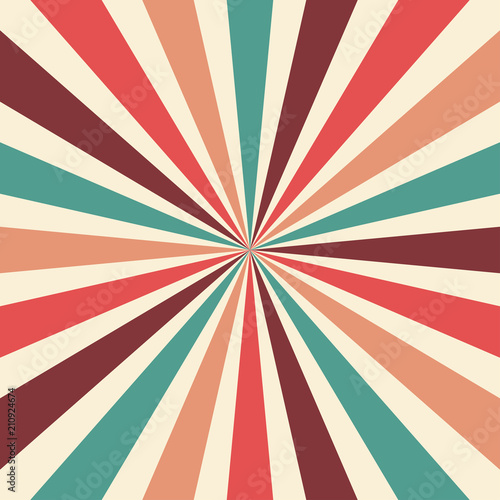 Obraz retro sunburst background vector pattern with a vintage color palette of burgundy red pink peach teal blue and beige white in a radial striped design with nostalgic style - fototapety do salonu
