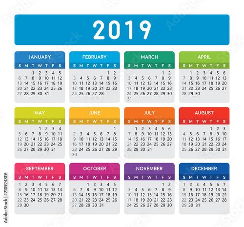 2019 Calendar Vertical Calendar Template On Isolated White