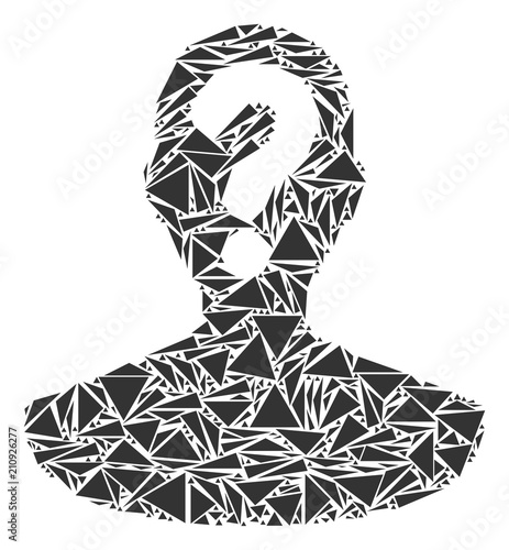 Obraz Unknown person mosaic of triangle items in various sizes and shapes. Vector polygons are united into unknown person mosaic. Geometric abstract vector illustration. - fototapety do salonu