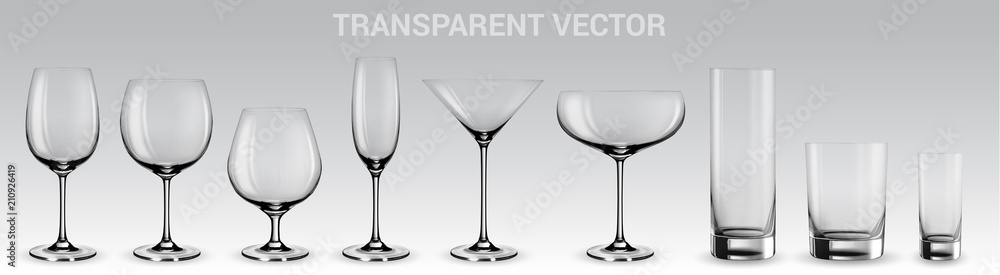 Fototapeta Set of vector glasses.  Set of transparent vector glasses for wine, martini, champagne and other