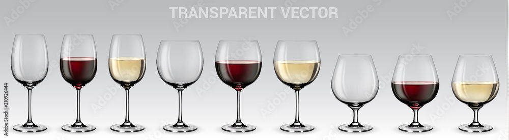 Fototapeta Set of vector wine glasses.  Set of transparent vector glasses with red and white wine