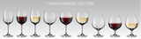 Set of vector wine glasses. Set of transparent vector glasses with red and white wine - 210926444