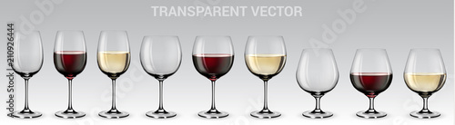 Set of vector wine glasses. Set of transparent vector glasses with red and white wine