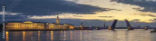 Tuinposter Asia land Saint Petersburg panorama sunrise city skyline at Palace Bridge, Saint Petersburg, Russia