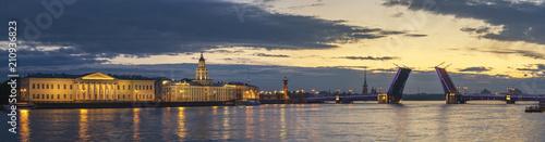 Poster Asia land Saint Petersburg panorama sunrise city skyline at Palace Bridge, Saint Petersburg, Russia