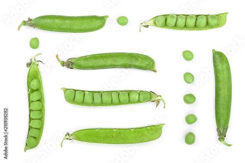 Fototapeta Fresh green pea pod isolated on white background