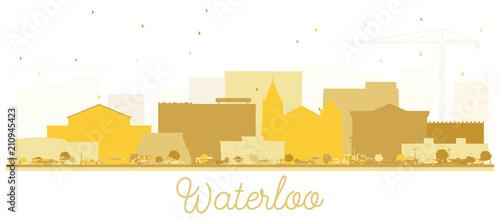 Waterloo Iowa City skyline Golden silhouette. Wallpaper Mural