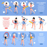 Aqua Aerobics Isometric Horizontal Banners