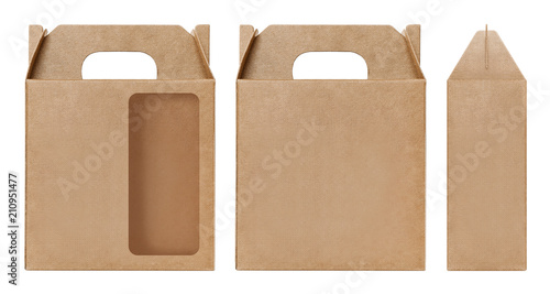 Box Brown Window Shape Cut Out Packaging Template Empty Kraft Cardboard Isolated White Background