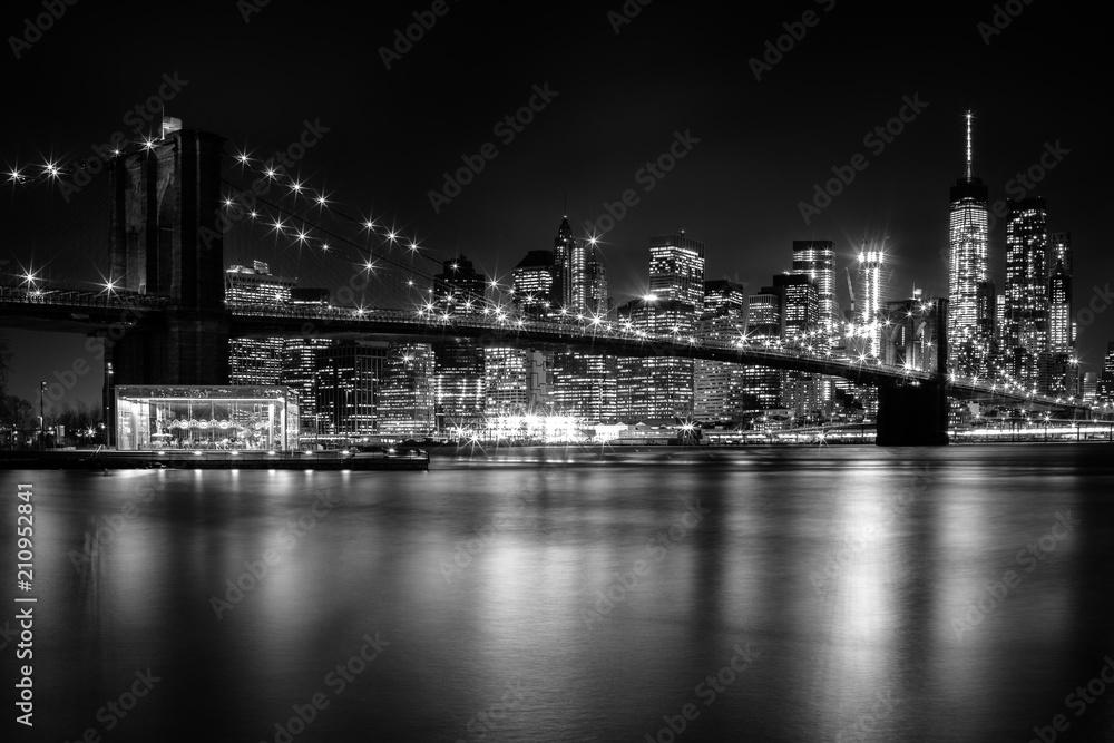 Fototapety, obrazy: Brooklyn Bridge night lights
