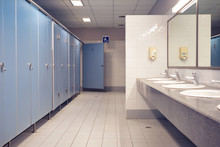 Public Toilet And Bathroom Interior With Wash Basin And Toilet Room.