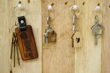 House Key With Wooden Home Key...