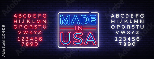 Photographie  Made in USA neon vector sign