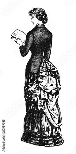 Obraz Woman vintage design #vector #isolated - Dame vintage Stil - fototapety do salonu