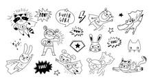 Superhero Cute Hand Drawn Animals, Cat, Dog, Panda, Bear And Crocodile Vector Characters