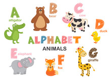 Alphabet With Animals  A To G  - Vector Illustration, Eps