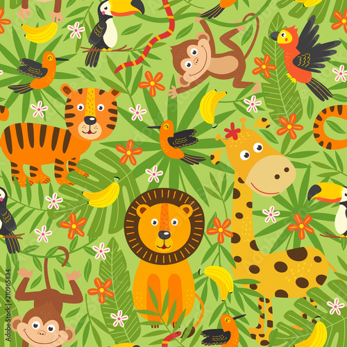 Spoed Foto op Canvas Kunstmatig seamless pattern with jungle animals - vector illustration, eps
