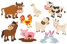 Set Of Isolated Farm Animals -...