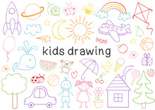 Set Of Isolated Kids Drawing  ...