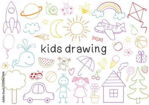 Fototapeta set of isolated kids drawing  - vector illustration, eps obraz