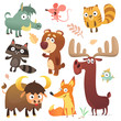 Cartoon forest animal characters. Wild cartoon cute animals collections vector. Squirrel, mouse, raccoon, boar, fox, buffalo, bear, moose, bird. Isolated