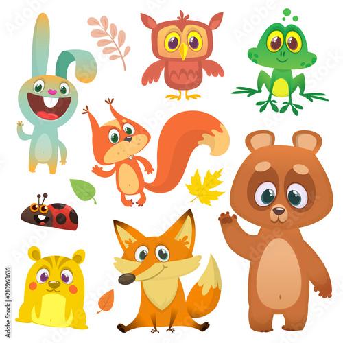 Fotobehang Schepselen Forest animals set cartoon. Vector illustration. Big set of cartoon woodland animals illustration. Squirrel, owl, bunny rabbit, frog, chipmunk, fox, bear, ladybug. Isolated