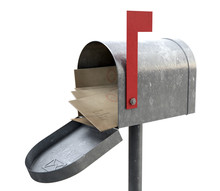 Retro Mail Box And Letter Stack