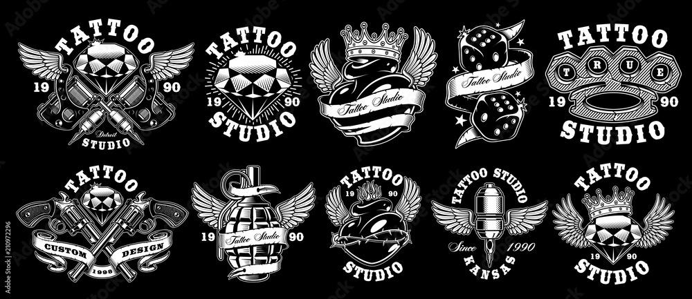 Fototapeta Set of custom tattoo designs.