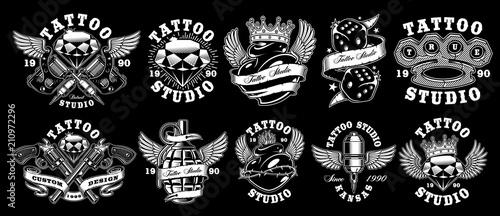 Set of custom tattoo designs. Canvas Print
