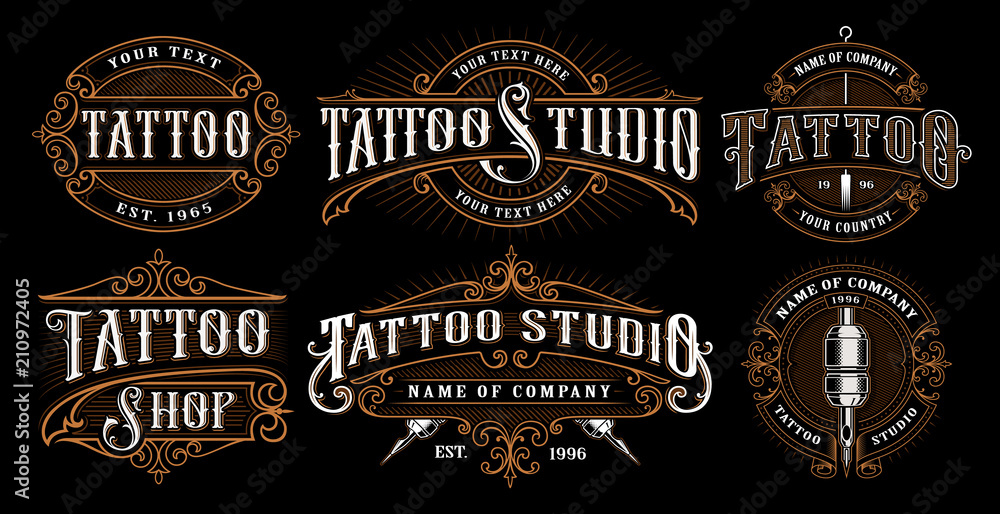 Fototapeta Set of vintage tattoo emblems (VERSION FOR DARK BACKGROUND)