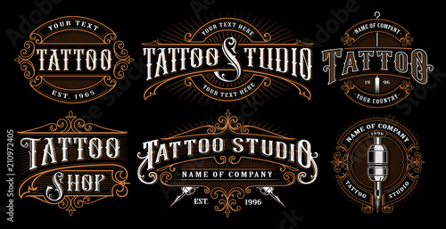 Set of vintage tattoo emblems (VERSION FOR DARK BACKGROUND) - fototapety na wymiar