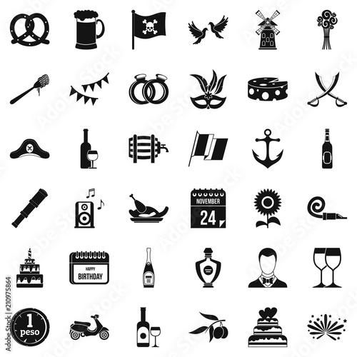 Fototapeta Celebration icons set. Simple style of 36 celebration vector icons for web isolated on white background obraz na płótnie