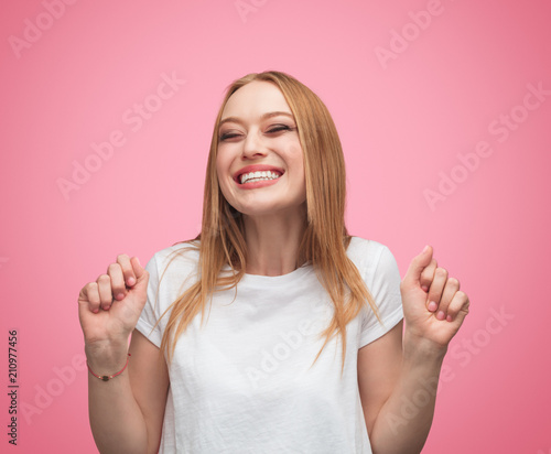 Super excited woman in anticipation Wallpaper Mural