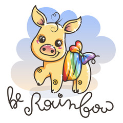 Greeting card with cute golden cartoon pig