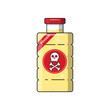 Plastic bottle with poison.Flat outline vector icon.