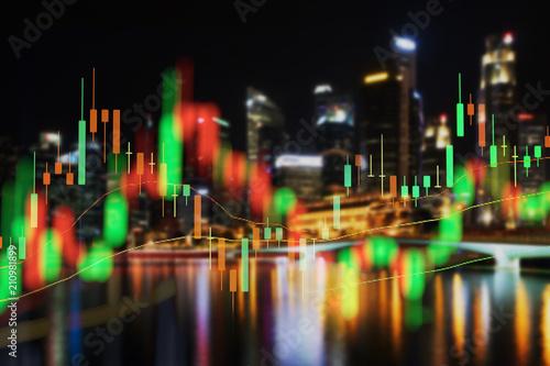 Stock market chart, Stock market data in blue on LED display