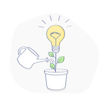 Water The Idea, The Creative, Generation Of Idea. The Idea, Lightbulb As A Plant Grows In A Flower Pot. Growing Ideas, Creative Work, Innovation