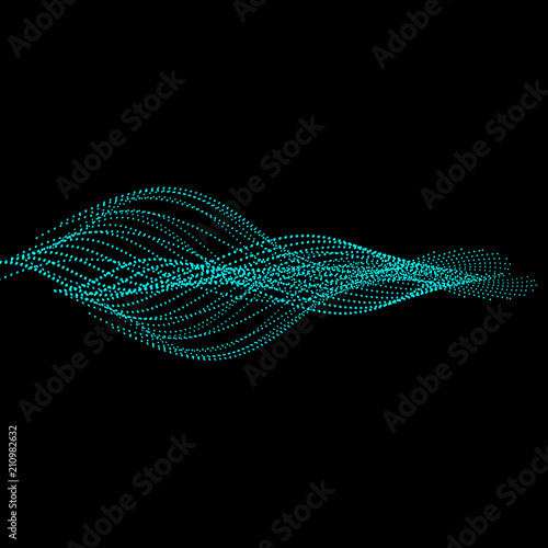 Foto op Plexiglas Abstract wave Abstract dark background with blue energy. Point waves.