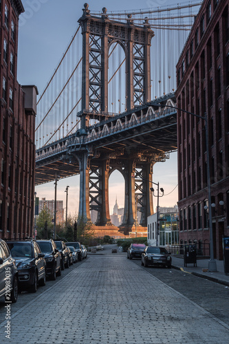 Manhattan bridge view from the street in dumbo Poster