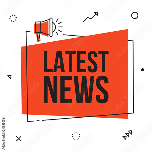 Fototapeta Newspaper latest news, flat vector daily icon with sun rays, vector web illustration art object with red headline. Publication, interview, reportage, article symbol.  obraz