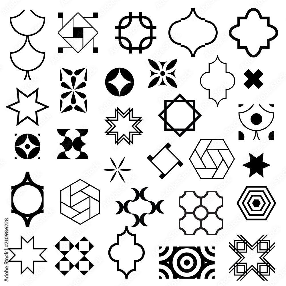 Fototapety, obrazy: Typical abstract symbols in ornamental arabic style. Vector set of logo design templates. Vector, illustration.