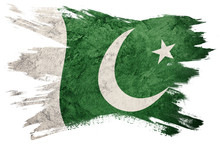 Grunge Pakistan Flag. Pakistan Flag With Grunge Texture. Brush Stroke.
